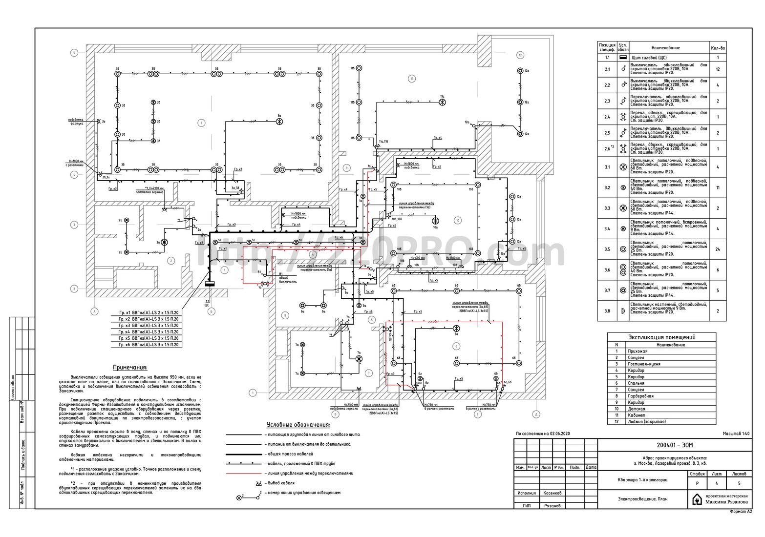 Электропроект квартиры в ЖК LIFE-Ботанический сад