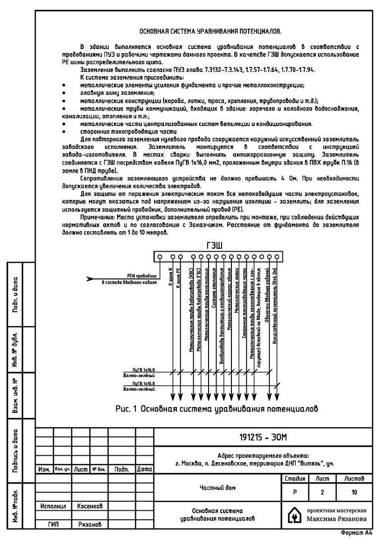 Электропроект коттеджа в поселке Витязь