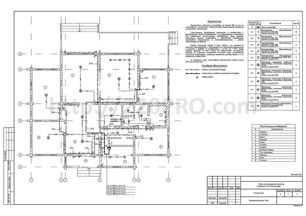 Электропроект для частного дома в КП Чистые пруды