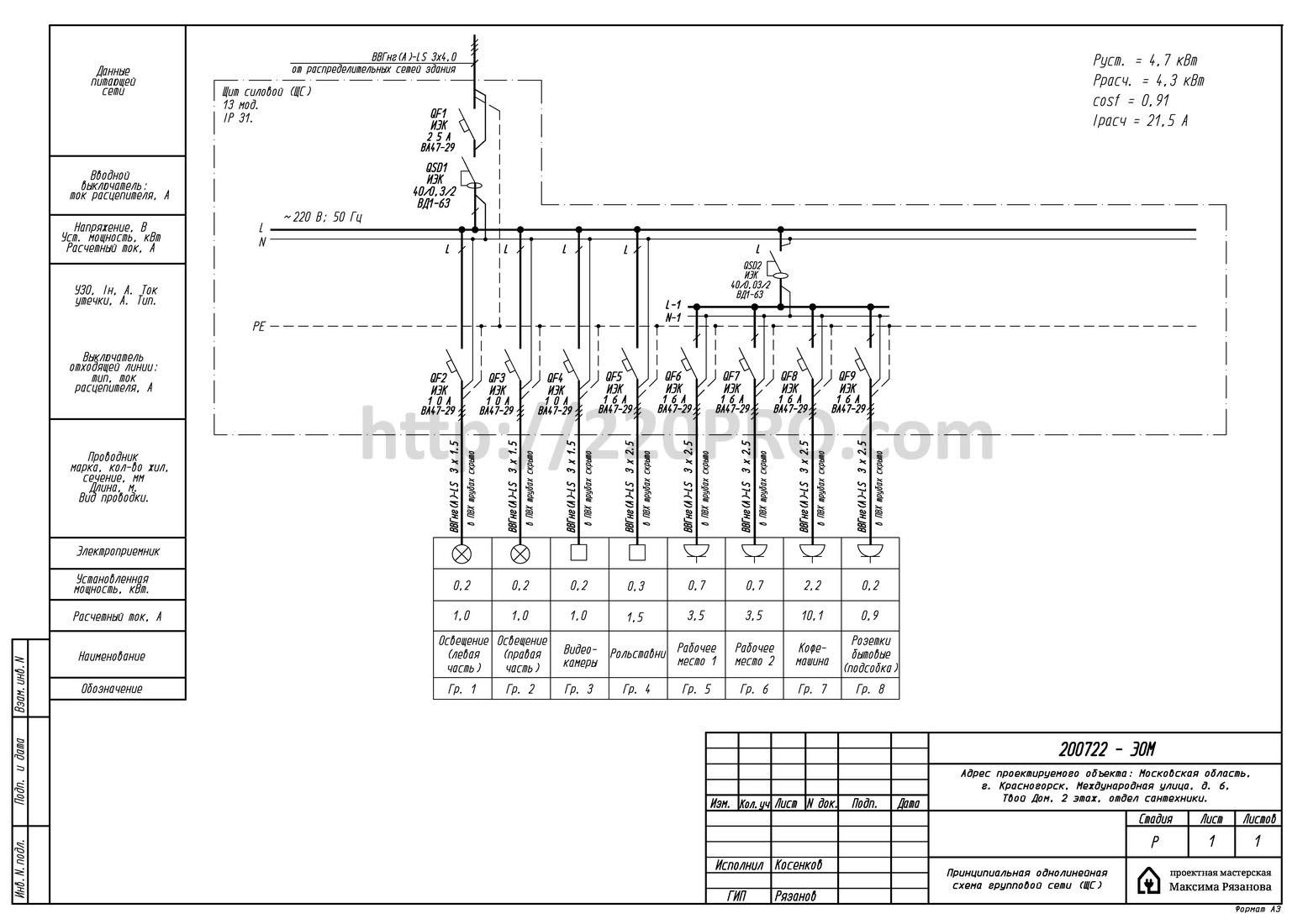 Схема силовго электрощита для павильона в Твой дом Мякинино