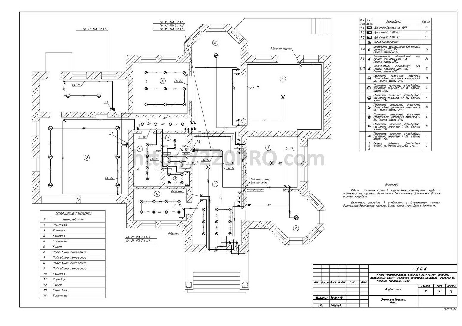 Электропроект для загородного дома в коттеджном поселке Миллениум парк